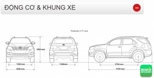 Động cơ và khung xe Toyota Fortuner 2016