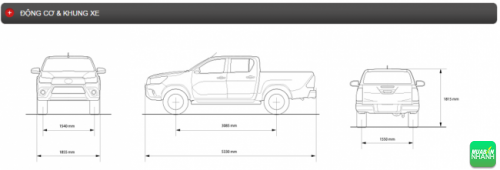 Động cơ và khung xe Toyota Hilux 2016