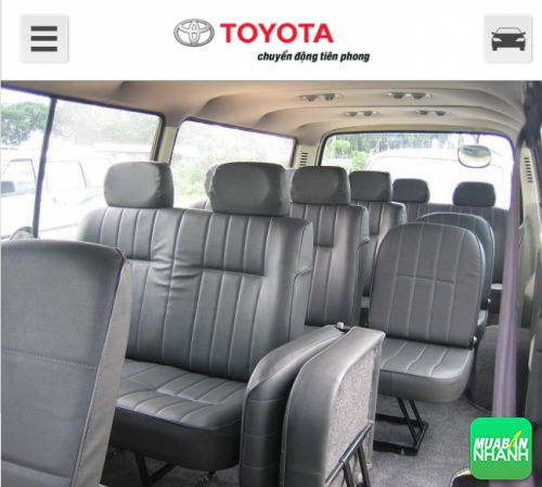 Cách bố trí ghế ngồi trên Toyota Hiace 2016