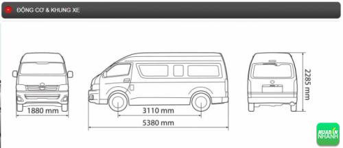 Động cơ và khung xe Toyota Hiace 2016